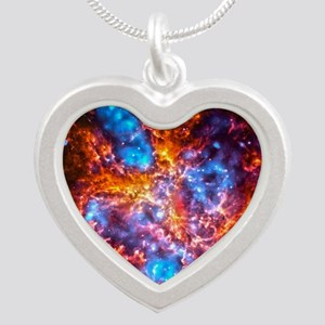 Colorful Cosmos Silver Heart Necklace