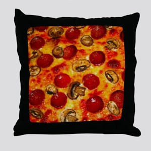 Pepperoni and Mushroom Pizza Throw Pillow
