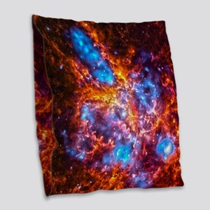 Colorful Cosmos Burlap Throw Pillow
