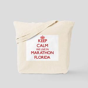 Keep calm we live in Marathon Florida Tote Bag