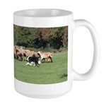 Border Collie and Hair Sheep Art Large Mug