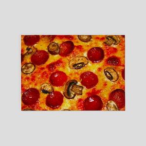 Pepperoni and Mushroom Pizza 5'x7'Area Rug