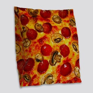 Pepperoni and Mushroom Pizza Burlap Throw Pillow