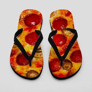 Pepperoni and Mushroom Pizza Flip Flops
