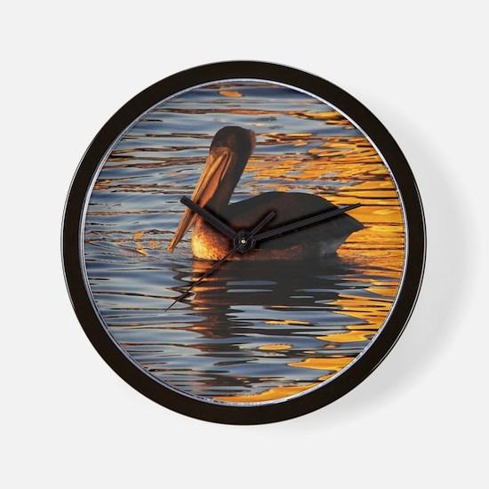 Pelican Sunset Wall Clock