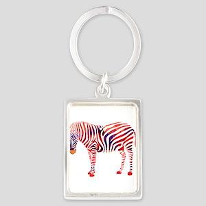 Mosaic Polygon Zebra Reds Blues Keychains