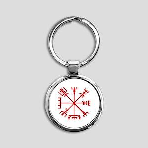 Blood Red Viking Compass : Vegvisir Keychains