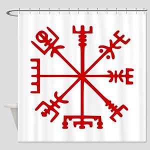 Blood Red Viking Compass : Vegvisir Shower Curtain