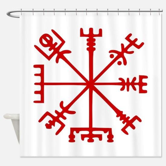 Blood Red Viking Compass : Vegvisir Shower Curtain