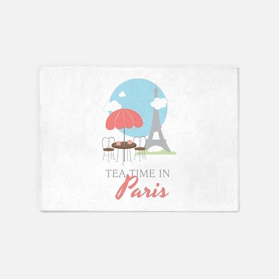 Tea Time in Paris 5'x7'Area Rug