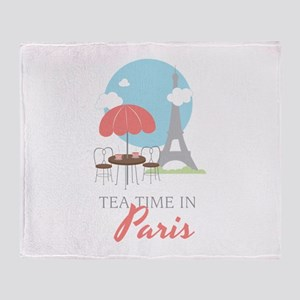 Tea Time in Paris Throw Blanket