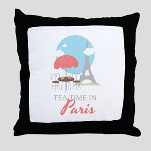 Tea Time in Paris Throw Pillow