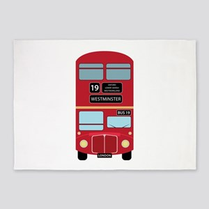 Double Decker Bus 5'x7'Area Rug