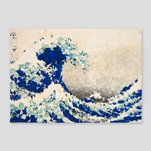 Great Wave Off Kanagawa Hokusai Triangles 5'x7'Are