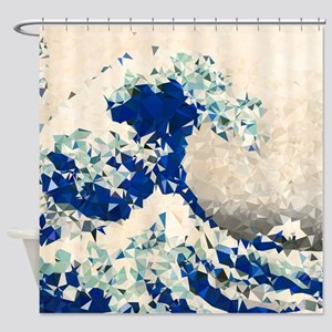 Great Wave Off Kanagawa Hokusai Triangles Shower C