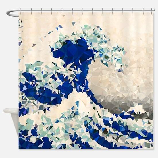 Great Wave Off Kanagawa Hokusai Triangles Shower C