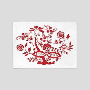 Red Floral Elegance 5'x7'Area Rug