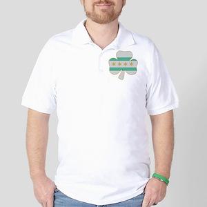 Irish Chicago flag shamrock Golf Shirt