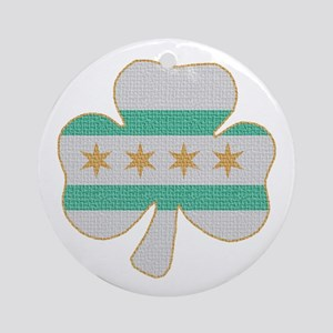 Irish Chicago flag shamrock Ornament (Round)