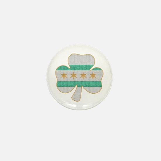 Irish Chicago flag shamrock Mini Button