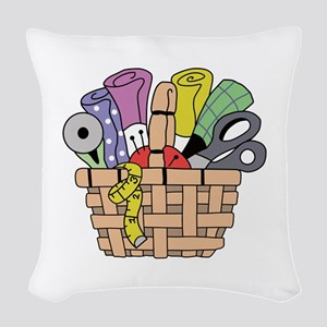 SEWING QUILTING BASKET Woven Throw Pillow