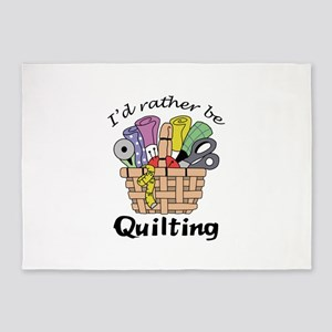 ID RATHER BE QUILTING 5'x7'Area Rug