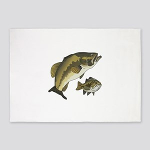 BASS FISHES 5'x7'Area Rug