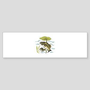 BASS FISH AND LILYPAD Bumper Sticker