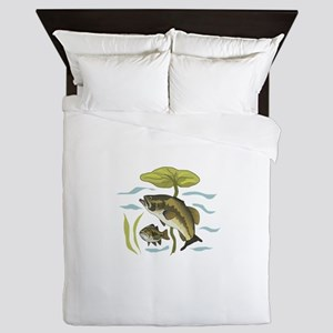 BASS FISH AND LILYPAD Queen Duvet
