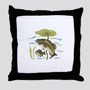 BASS FISH AND LILYPAD Throw Pillow