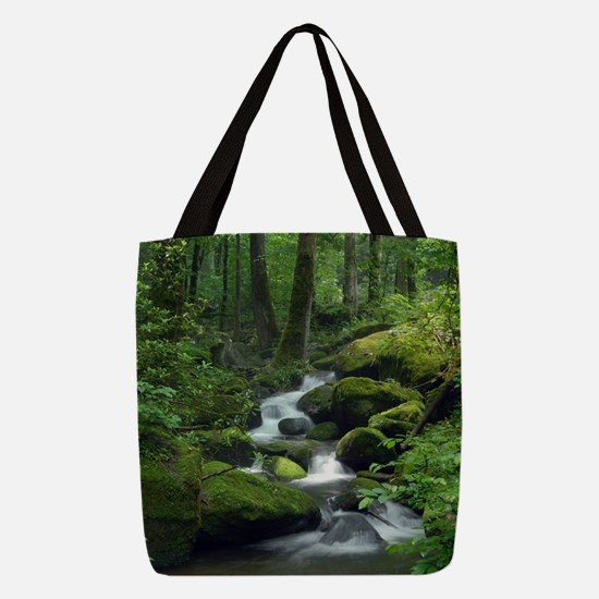 Summer Forest Brook Polyester Tote Bag