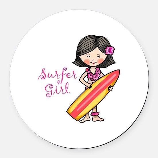 Surfer Girl Round Car Magnet