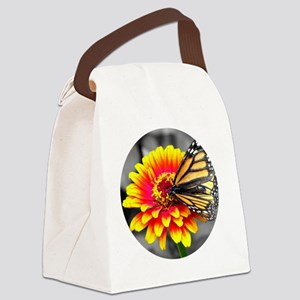 Butterfly On Flower Canvas Lunch Bag
