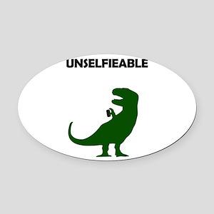 Unselfieable T-Rex Oval Car Magnet