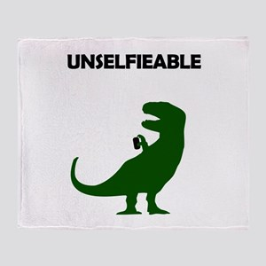 Unselfieable T-Rex Throw Blanket