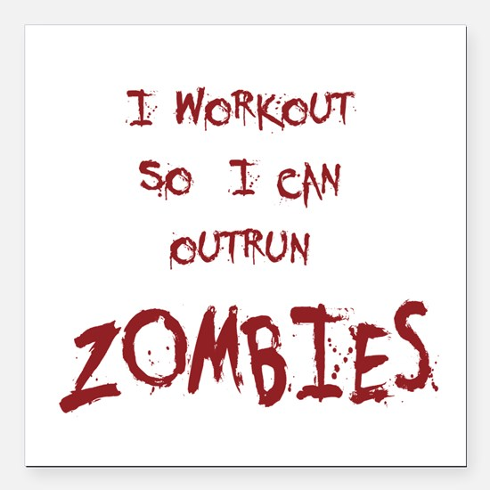 "Outrun Zombies 1 Square Car Magnet 3"" x 3"""