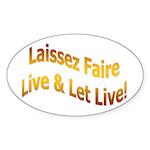 Laissez Faire-Gold Oval Sticker