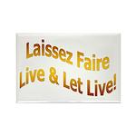 Laissez Faire-Gold Rectangle Magnet (100 pack)
