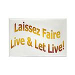 Laissez Faire-Gold Rectangle Magnet (10 pack)