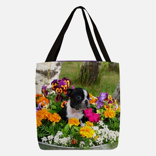 Boston Terrier puppy Polyester Tote Bag