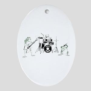 Frogs Rock Oval Ornament