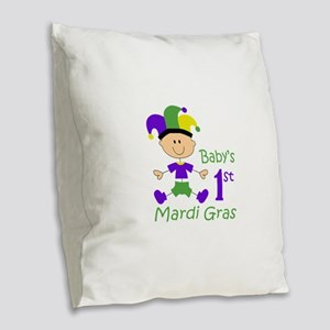 BABYS FIRST MARDI GRAS Burlap Throw Pillow