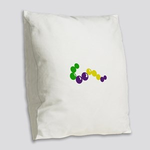 MARDI GRAS BEADS Burlap Throw Pillow