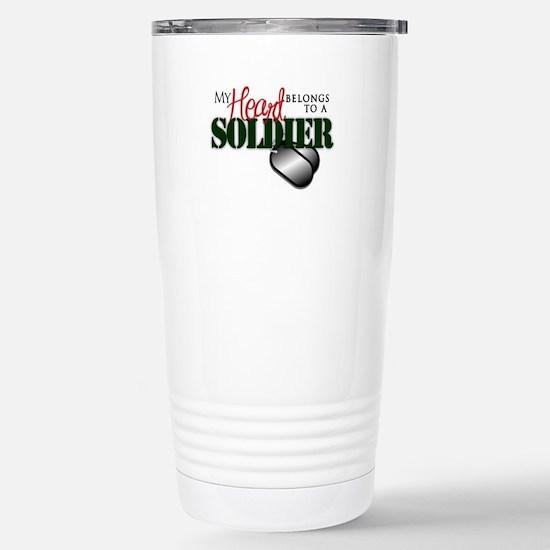 Heart Belong to Soldier Stainless Steel Travel Mug