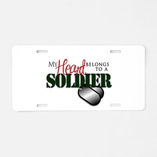 Heart Belong to Soldier Aluminum License Plate
