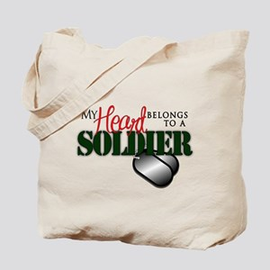 Heart Belong to Soldier Tote Bag