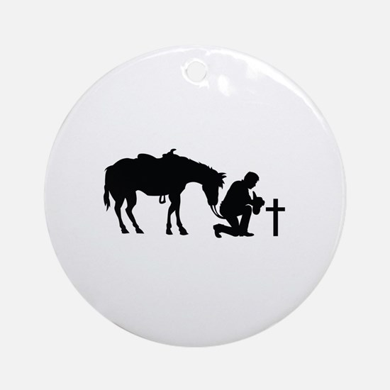 COWBOY HORSE AND CROSS Ornament (Round)