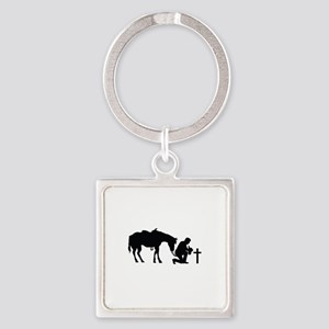 COWBOY HORSE AND CROSS Keychains