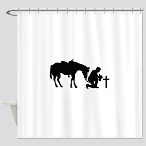 COWBOY HORSE AND CROSS Shower Curtain