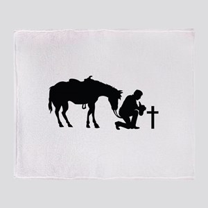 COWBOY HORSE AND CROSS Throw Blanket